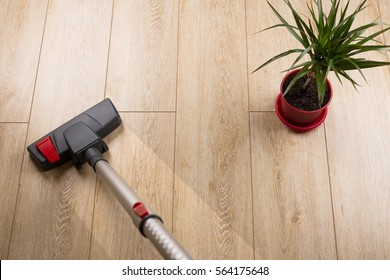Cleaning home laminate from dirt and dust with a vacuum cleaner,
