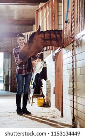 Cleaning horse. Caring horsewoman wearing riding boots and squared shirt coming to stable for cleaning horse