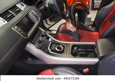 Cleaning of interior of the car with vacuum cleaner, Car cleaning