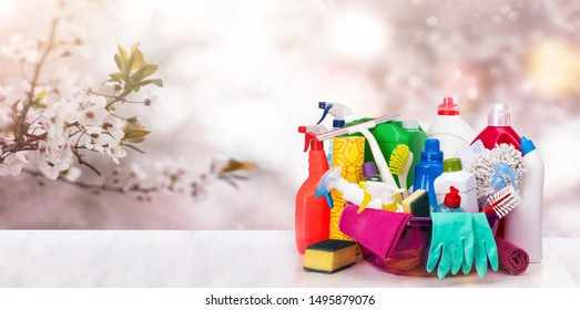 Cleaning items in basket. Spring image on blurred background - Shutterstock ID 1495879076