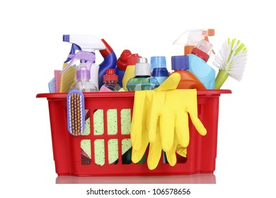 Cleaning items in plastic basket isolated on white