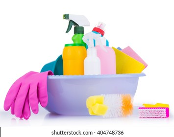Cleaning kit on white background. Tools for cleaning. Cleaning agents, spray, rubber gloves. Flat Lay