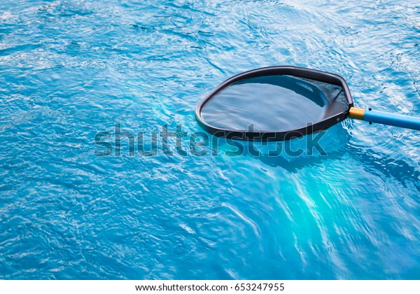 Cleaning Maintenance Swimming Pool Cleaning Net Stock Photo ...