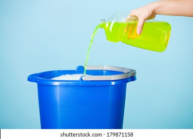 Cleaning: Pouring Cleaner In Bucket