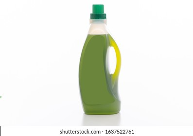 Cleaning product isolated against white background. Chemical detergent pink bottle. Domestic household or business sanitary cleaning