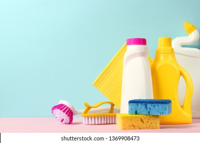 cleaning product on a colored background side view. Professional cleaning products, spring cleaning. Household chemicals