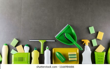 Cleaning products. Housekeeping concept. Top view shot.