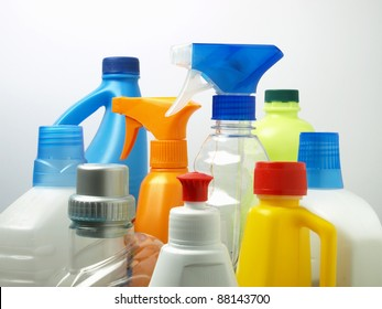 Cleaning products isolated, Cleaning chemicals, Cleaning product bottle, Cleaning products concept, Product shot