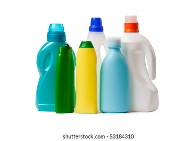 cleaning products on white background