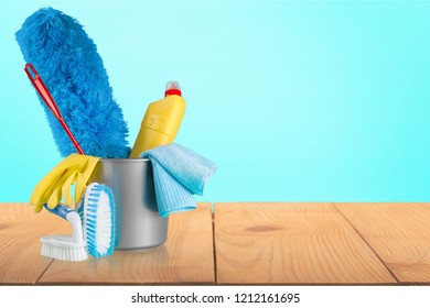 Cleaning Products and Supplies in Bucket - Isolated