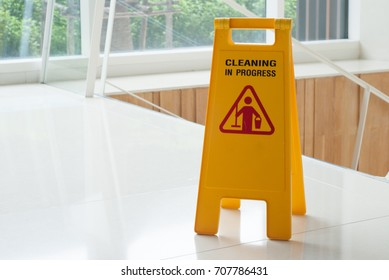 cleaning progress caution sign in hotel.
