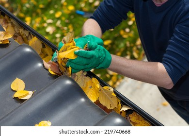 Cleaning the rain gutter during autumn, horizontal