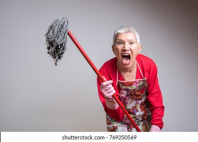 Cleaning senior lady had enough, threatening to beat you with a mop