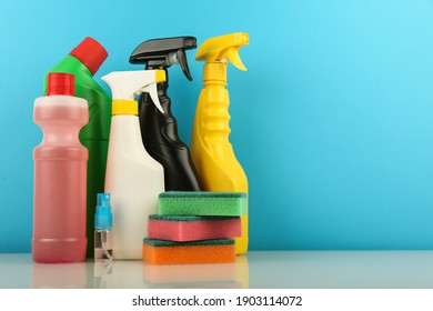 cleaning service concept. background with cleaning products