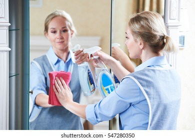 Cleaning service. hotel staff clean mirror