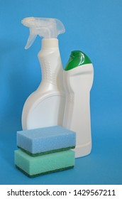 Cleaning service and household duty. Best quality and recommendations concept. Easy and quick cleaning with spray. Products for housekeeping. Liquid gel for cleaning home. Bottles and sponges.
