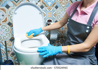 Cleaning service. woman clean toilet sink