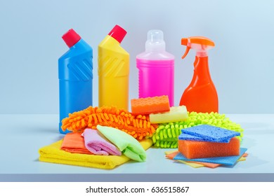 Cleaning service.Basket with detergent.chemicals bottles,sponge,spray for cleanup