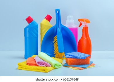 Cleaning service.Basket with sponges,chemicals bottles,detergent,spray for sleanup