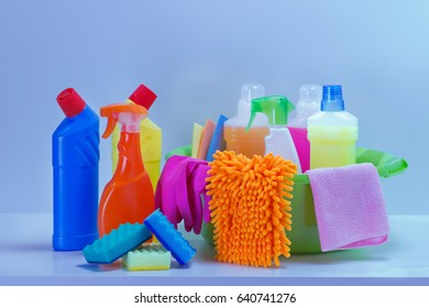 Cleaning service,cleaning product on table of kitchen