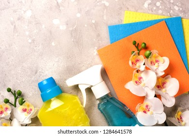 Cleaning set. Spring clean up. On grey background