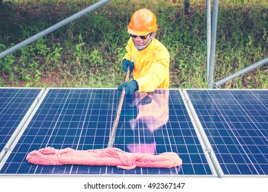 cleaning solar panel in solar power plant