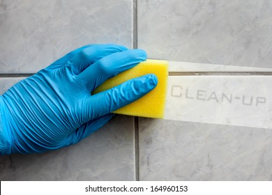Cleaning sponge held in hand while cleaning bathroom
