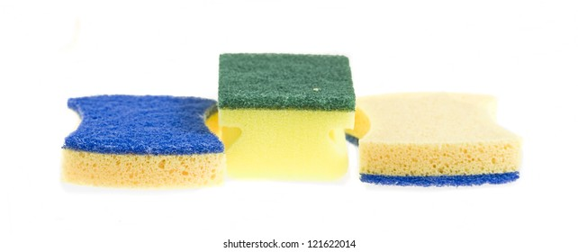 cleaning sponges isolated on a white background