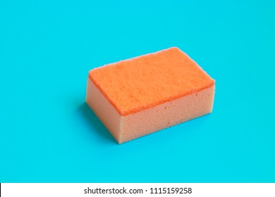 Cleaning sponges  on color background