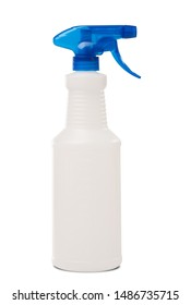 Cleaning Spray Bottle with Blue Handle on White Background