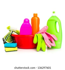 cleaning supplies and gloves isolated on white background