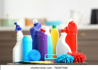 Cleaning supplies on blurred background