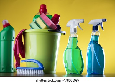 Cleaning theme with cleaning stuff, on yellow background