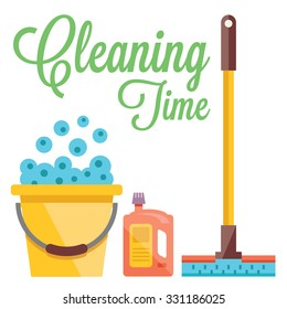 Cleaning time concept. Flat design concepts for web banners, web sites, printed materials. Creative flat illustration