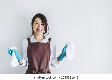 Cleaning tools and Asian women