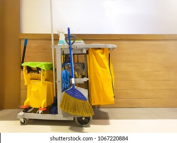 Cleaning tools cart in department store.