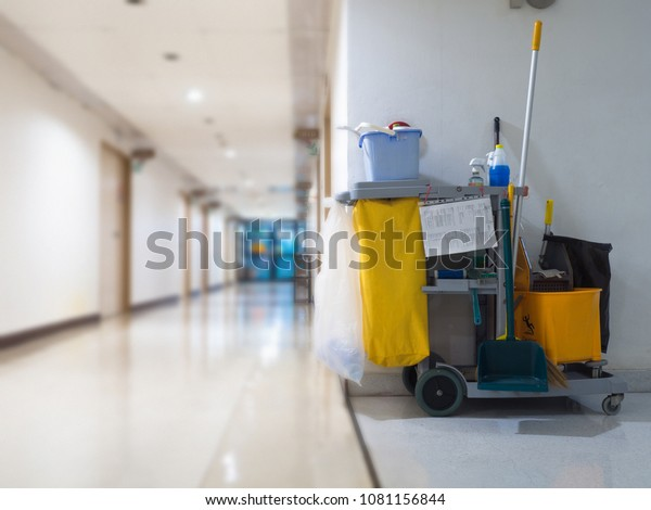 Der Reinigungswarenkarren wartet auf die Zimmermädchen oder die Reinigungskraft im Krankenhaus. Eimer und Set von Reinigungsanlagen im Krankenhaus. Konzept der Dienst-, Arbeitnehmer- und Ausrüstungsgegenstände für saubere und gesunde Gesundheit