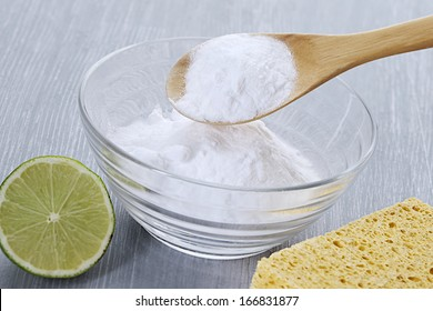 cleaning tools and sodium bicarbonate for house cleaning -  healthy lifestyle
