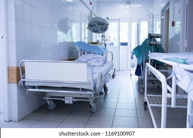 Cleaning trolley in the corridor of the hospital. intensive care unit