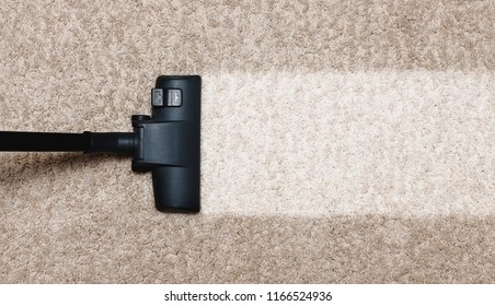 Cleaning white with pile carpet vacuuming at home
