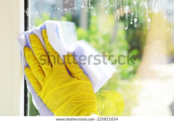 Reinigungsfenster mit speziellem Lappen