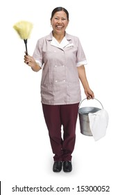 Cleaning woman in maid uniform with duster and bucket on a white background