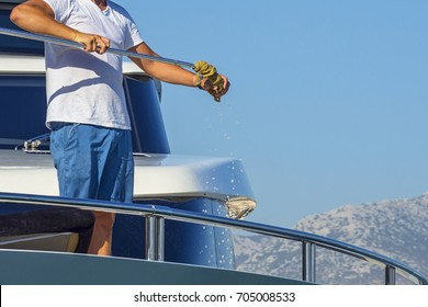 Cleaning the yacht