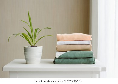 cleanliness and order on the white dresser: a neat stack of clothes and a small well-groomed green houseplant Chlorophytum