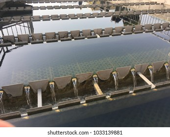 Cleanned water are effluented from weir and channel in a waste water treatment plant