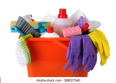cleanser brush and rubber gloves with sponge wash in a large plastic bucket on white isolated background