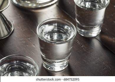 Clear Alcoholic Russian Vodka Shots Ready to Drink