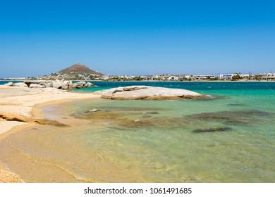 Clear azure sea water of Agia Anna beach. Naxos island. Greece