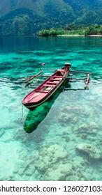 Clear beach of Maluku: empty beach of Saleman village, Manusela National Park, Seram island, Indonesia