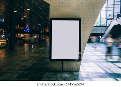 Clear Billboard in public place with blank copy space screen for advertising or promotional poster content, empty mock up Lightbox for information, blank display in station area with daylight